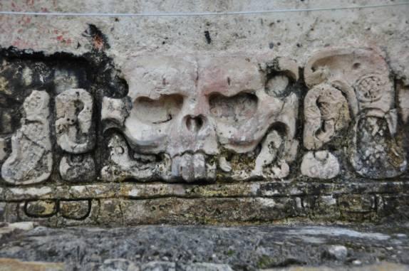 A caveira que dá nome ao Templo de La Calavera, nas ruínas mayas de Palenque, em Chiapas, no sul do México