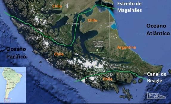 O Estreito de Magalhães, ao norte da Terra do Fogo e passando por Punta Arenas, e o Canal de Beagle, ao sul da ilha e passando por Ushuaia, duas das principais ligações entre os oceanos Atlântico e Pacífico. A Passagem de Drake está mais ao sul