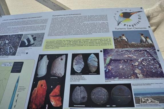 Placa informativa em pinguinera na Terra do Fogo, no sul do Chile